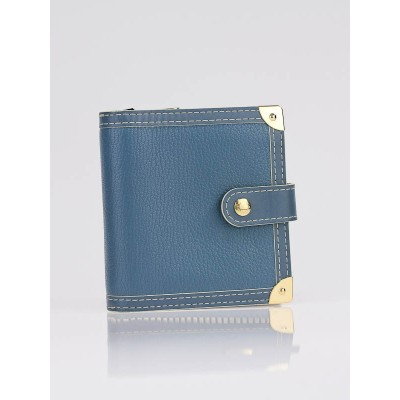 Louis Vuitton Blue Suhali Leather Compact Zippy Wallet