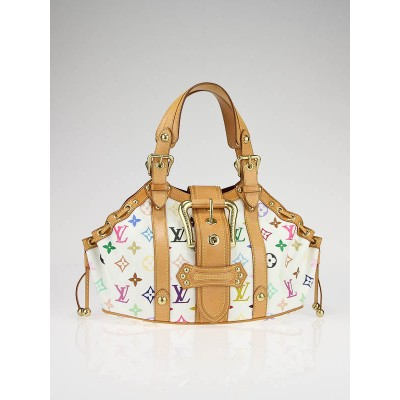 Louis Vuitton Limited Edition White Monogram Multicolor Theda GM Bag
