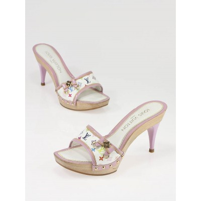 Louis Vuitton White/Lilac Monogram Multicolore Canvas Wood Platform Heels Size 4.5/35