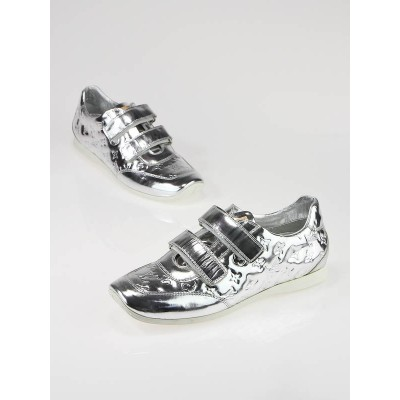 Louis Vuitton Silver Monogram Miroir Tennis Shoes Size 8/38.5
