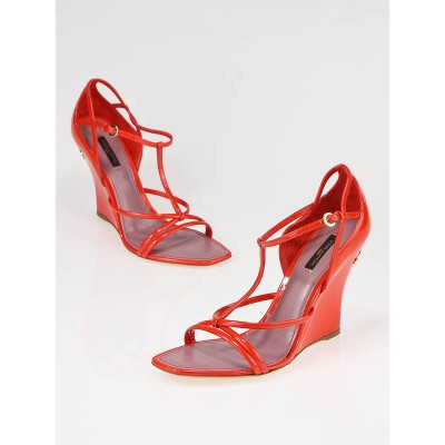 Louis Vuitton Strawberry Red Patent Leather Wedges Size 8/38.5