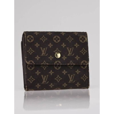 Louis Vuitton Ebene Monogram Mini Lin Compact Wallet