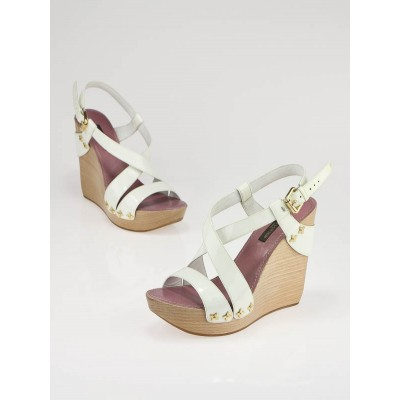 Louis Vuitton White Patent Leather Pomegranate Wedge Sandals Size 4.5/35