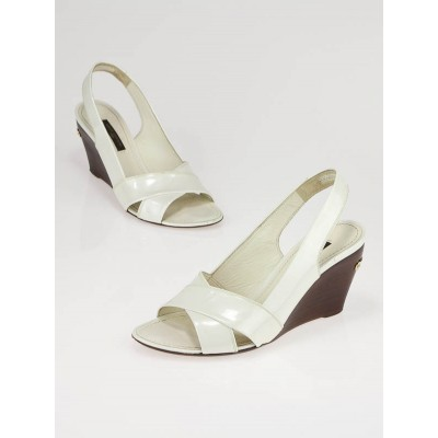 Louis Vuitton White Patent Leather Slingback Wedge Sandals Size 4.5/35