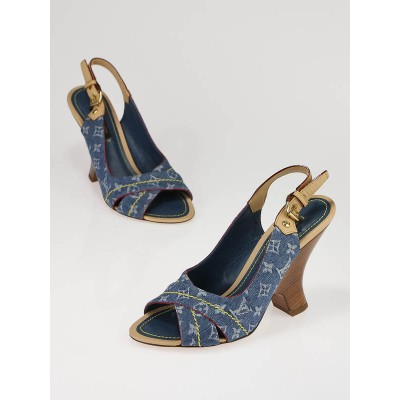 Louis Vuitton Blue Denim Monogram Denim Wooden Slingback Sandal Heels Size 34