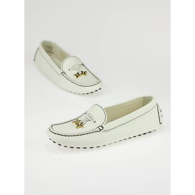 Louis Vuitton White Leather Flat Loafers Size 7/37.5