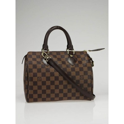 Louis Vuitton Damier Canvas Speedy 25 w/ Shoulder Strap Bag