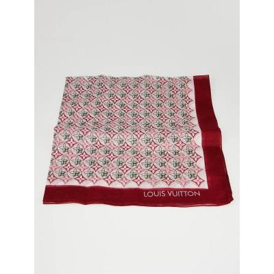 Louis Vuitton Red Cotton Voile Monogram Square Scarf