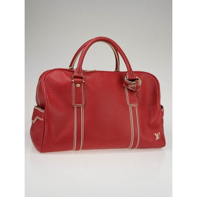 Louis Vuitton Red Tobago Leather Carryall Bag