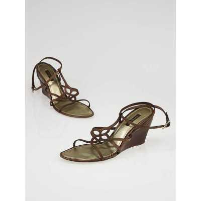 Louis Vuitton Brown Leather Strappy Fleur Wedge Sandals Size 9/39.5