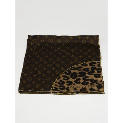 Louis Vuitton Brown Leopard and Monogram Print Silk Square Scarf