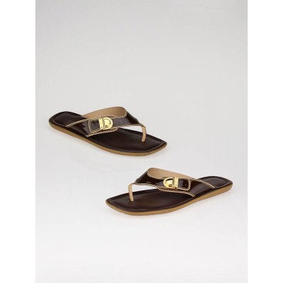 Louis Vuitton Brown Leather Thong Sandals Size 5.5/36