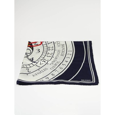 Louis Vuitton Blue Silk Le Temps du Voyage Gae Aulenti Clock Scarf