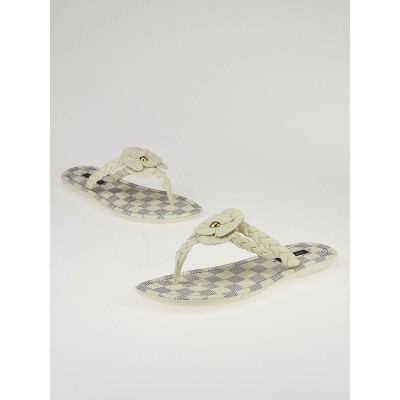 Louis Vuitton Azur Damier Flower Thames Thong Sandals Size 5.5/36