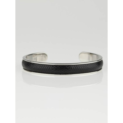 Louis Vuitton Black Damier Embossed Leather and Palladium Soho Bracelet