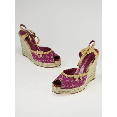 Louis Vuitton Fuchsia Monogram Denim Espadrille Wedges Size 9/39.5
