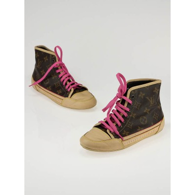 Louis Vuitton Monogram Leather High-Top Capucine Sneakers Size 5.5/36