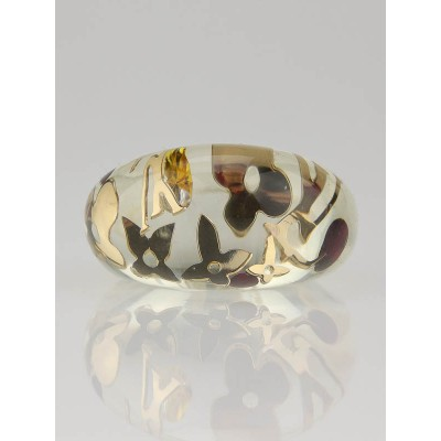 Louis Vuitton Gold Resin Monogram Inclusion Ring Size 5.5