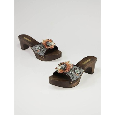 Louis Vuitton Monogram Mini Lin Floral Wood Mules Size 7.5/38
