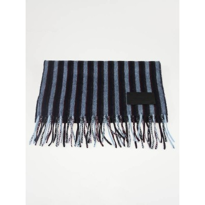 Louis Vuitton Blue Striped Lambs wool and Cashmere Scarf