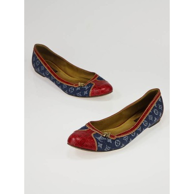 Louis Vuitton Blue Denim and Red Embossed Leather Ballet Flats Size 7.5/38