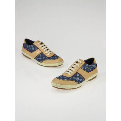 Louis Vuitton Blue Denim Monogram Denim and Leather Sneakers Size 8.5/39