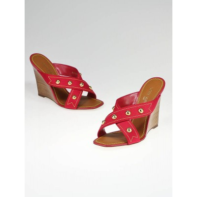 Louis Vuitton Red Canvas and Gold Stud Wedge Sandals Size 9/39.5
