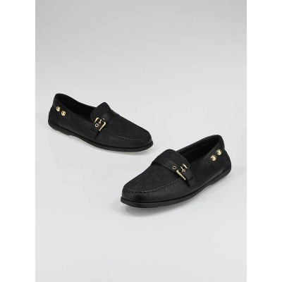 Louis Vuitton Black Mini Lin Monogram and Leather Loafer Size 8.5/39