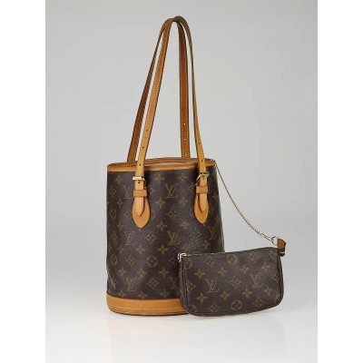 Louis Vuitton Monogram Canvas Petite Bucket Bag w/ Accessories Pochette