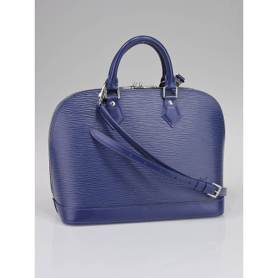 Louis Vuitton Myrtille Blue Epi leather Alma Bag w/ Strap