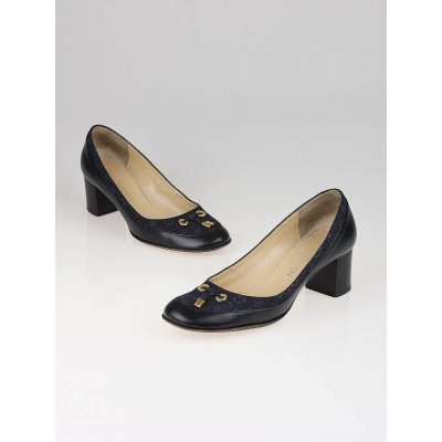 Louis Vuitton Blue Mini Lin Monogram Pumps Size 6.5/37