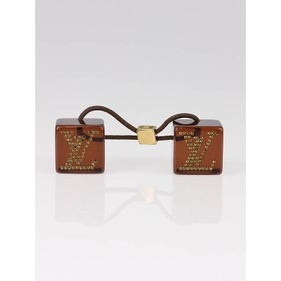 Louis Vuitton Brown Resin and Crystal Hair Cubes
