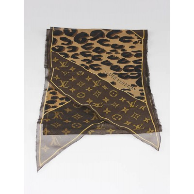 Louis Vuitton Monogram Leopard Print Silk Scarf