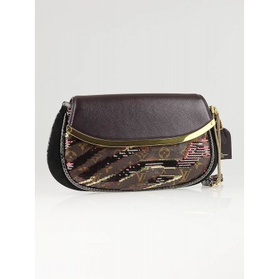 Louis Vuitton Limited Edition Bordeaux Monogram Savage Tiger Clutch Bag