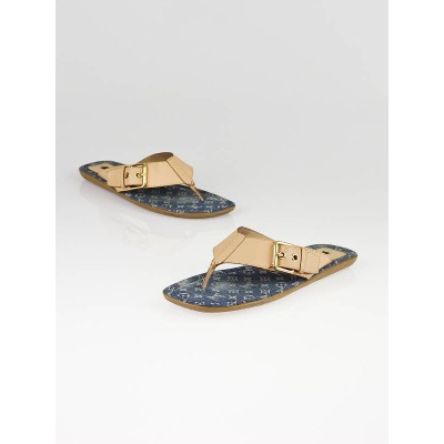 Louis Vuitton Blue Denim Monogram Denim Thong Sandals Size 8.5/39