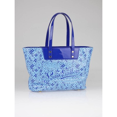 Louis Vuitton Limited Edition Bleu Shiny Leather Cosmic Blossom Tote PM Bag