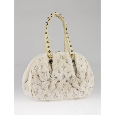 Louis Vuitton Limited Edition White Mink Cabochons Demi Lune Bag