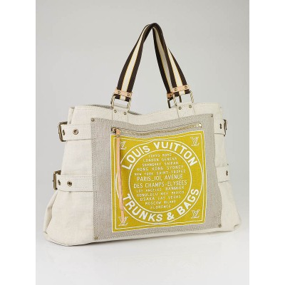 Louis Vuitton Limited Edition Yellow Toile Globe Shopper Cabas GM Bag