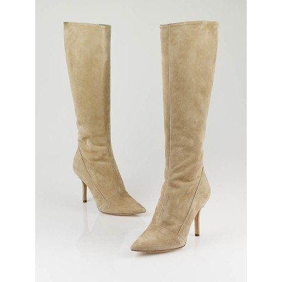 Louis Vuitton Beige Suede Diana Knee-High Boots Size 8/38.5