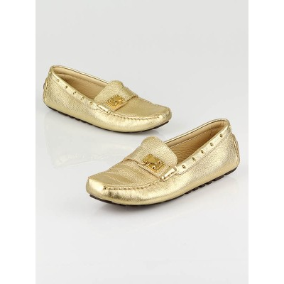 Louis Vuitton Gold Metallic Leather Driving Shoes Size 7.5/38