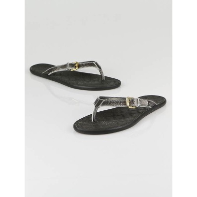Louis Vuitton Pewter Metallic Rubber Thong Sandals Size 8.5/39