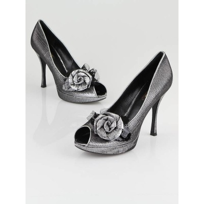 Louis Vuitton Silver Satin Moir' Glamourize Me Peep Toe Pumps Size 8.5/39