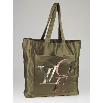 Louis Vuitton Limited Edition Khaki Satin That's Love Large Tote Bag