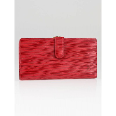 Louis Vuitton Red Epi Leather French Purse Continental Wallet