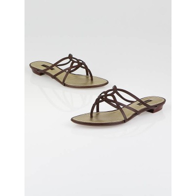 Louis Vuitton Moka Leather Magnolia Thong Sandals Size 5.5/36