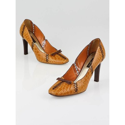 Louis Vuitton Orange Alligator Yaounde Pumps Size 5.5/36