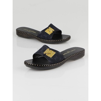 Louis Vuitton Dark Blue Denim Monogram Slide Sandals Size 7.5/38