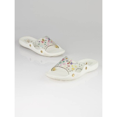 Louis Vuitton White Multicolore Rubber Beach Slides Size 10.5/41