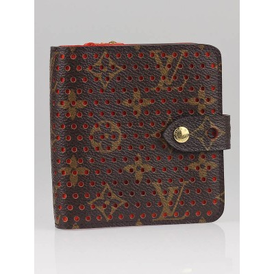 Louis Vuitton Limited Edition Orange Monogram Perforated Compact Zip Wallet