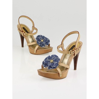 Louis Vuitton Blue Monogram Denim Flower Platform Strappy Sandals Size 4.5/35